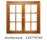 Wooden Window Isolated On Whit...