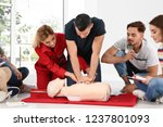 group of people with instructor ... | Shutterstock . vector #1237801093