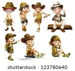 illustration of boys and girls... | Shutterstock .eps vector #123780640