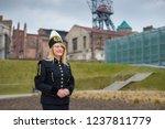 woman black coal miner foreman... | Shutterstock . vector #1237811779
