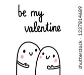 be my valentine cute... | Shutterstock .eps vector #1237814689