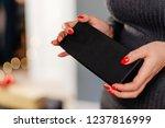 female holding jewelry box.... | Shutterstock . vector #1237816999