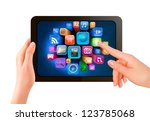 hand holding touch pad pc and... | Shutterstock . vector #123785068
