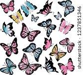 set of beautiful butterflies ... | Shutterstock .eps vector #1237851346