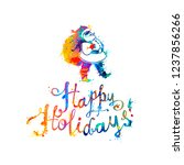 happy holidays card with santa... | Shutterstock .eps vector #1237856266