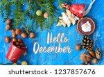 hello december card  | Shutterstock . vector #1237857676