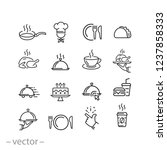 food icons set  line signs on... | Shutterstock .eps vector #1237858333