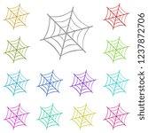 spider web icon in multi color. ...