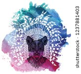 the wolf in the ethnic... | Shutterstock .eps vector #1237881403