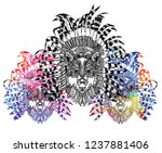 the wolf in the ethnic... | Shutterstock .eps vector #1237881406