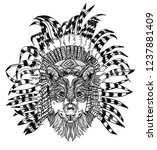 the wolf in the ethnic... | Shutterstock .eps vector #1237881409