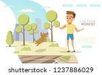 happy childhood flat vector... | Shutterstock .eps vector #1237886029