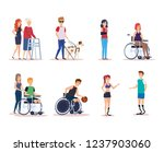 disabled people set design | Shutterstock .eps vector #1237903060