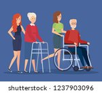 disabled old woman and man... | Shutterstock .eps vector #1237903096
