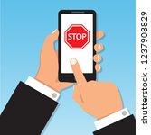 stop sign printed letter on... | Shutterstock .eps vector #1237908829