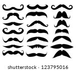 mustache in a set on a white...   Shutterstock .eps vector #123795016