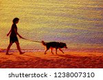 Stock photo  dog and a girl on the beach oil painting 1238007310