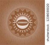 hot dog icon inside wood emblem....   Shutterstock .eps vector #1238030020