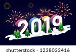 3d text 2019 with christmas... | Shutterstock .eps vector #1238033416