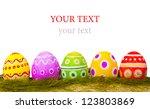 colorful easter eggs on white... | Shutterstock . vector #123803869