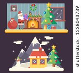 cristmas room new year house...   Shutterstock . vector #1238043739