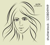 art sketching vector girl face  ... | Shutterstock .eps vector #123804949