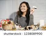 happy young woman buying gifts... | Shutterstock . vector #1238089900