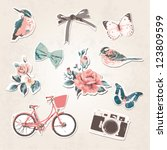 vintage things set birds bows... | Shutterstock .eps vector #123809599