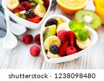 Bowls With Fruits Salad On A...