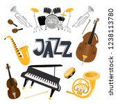 jazz musical instruments.... | Shutterstock .eps vector #1238113780