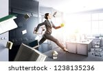 dancing businesswoman in office.... | Shutterstock . vector #1238135236