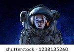 attractive woman in spacesuit   Shutterstock . vector #1238135260