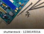 electronic parts on a green pcb ...   Shutterstock . vector #1238145016