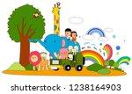 theme park safari animals and...   Shutterstock .eps vector #1238164903