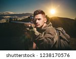 close up snipers carbine at the ... | Shutterstock . vector #1238170576