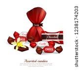 assorted chocolate candies in... | Shutterstock .eps vector #1238174203