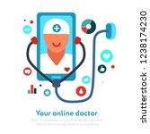 online doctor on mobile device... | Shutterstock .eps vector #1238174230
