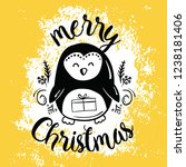 merry christmas typography. | Shutterstock .eps vector #1238181406
