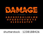 damaged font design  alphabet... | Shutterstock .eps vector #1238188426