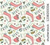hand drawn christmas pattern...   Shutterstock .eps vector #1238203336