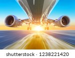 passenger airplane accelerates... | Shutterstock . vector #1238221420