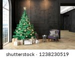 black interior with christmas...   Shutterstock . vector #1238230519