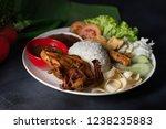 fried chicken nasi lemak  | Shutterstock . vector #1238235883