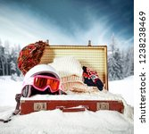 winter suitcase on snow and... | Shutterstock . vector #1238238469