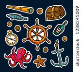 sea adventures sticker set.... | Shutterstock .eps vector #1238245009