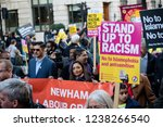 London, United Kingdom, November 17th: 2018- The Stand Up To Racism march through central London from the BBC to near Downing Street in Whitehall - stock photo
