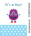 cute monster baby boy arrival...   Shutterstock .eps vector #1238293696