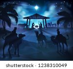 christmas nativity scene  baby... | Shutterstock . vector #1238310049