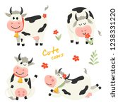 set of cute cows character in... | Shutterstock .eps vector #1238331220