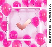 realistic fuchsia balloons with ... | Shutterstock . vector #1238356660